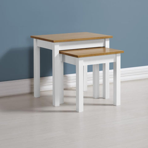 Ludlow Nest of Tables In White With Pine Top