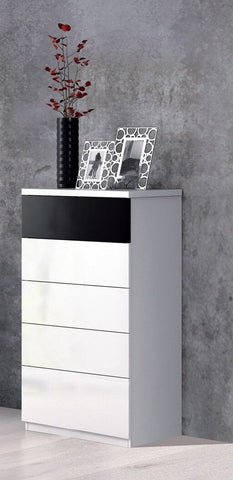 Black and White Gloss Tall Chest Of 5 Drawers