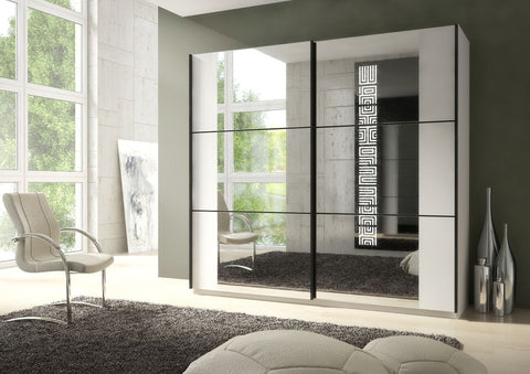 Memphis Large Mirrored Sliding Wardrobe In White