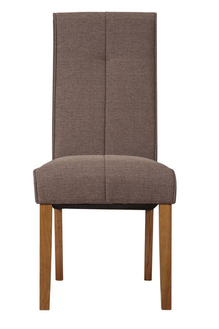 Luxurious Fabric Chair With Oak Legs - Light Brown