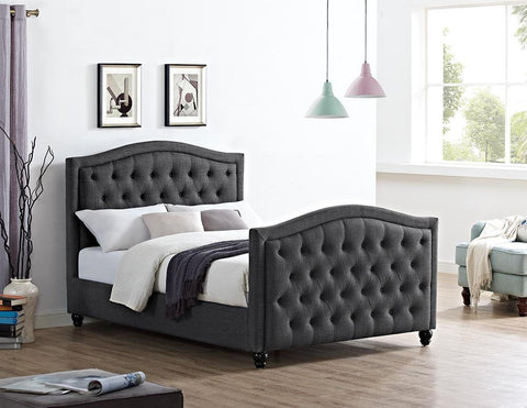 Monroe Buttoned Headboard Fabric Bed - Double & King Size