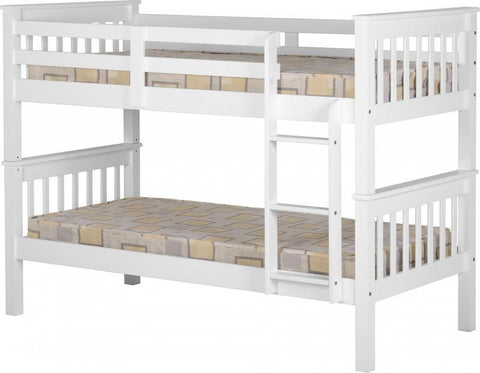 Neptune 3ft Single Wooden Bunk Bed in White
