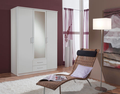 Nice 3 Door & 2 Drawer Mirrored Wardrobe - Alpine White or Light Oak Effect