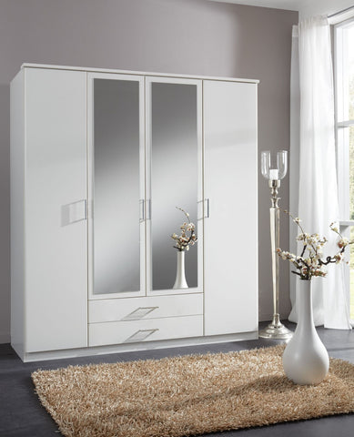 Nice 4 Door & 2 Drawer Mirrored Wardrobe - Alpine White & Light Oak Effect