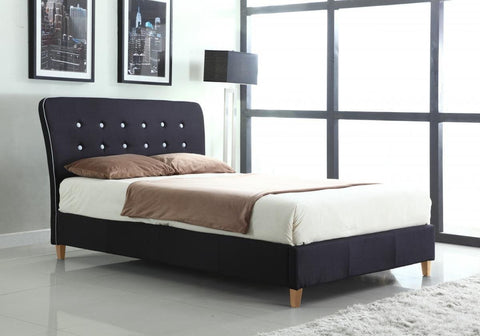 Nina Linen Upholstered Bed (Black with White Piping)
