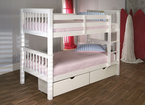 Pavo Bunk Bed In Solid Pine White
