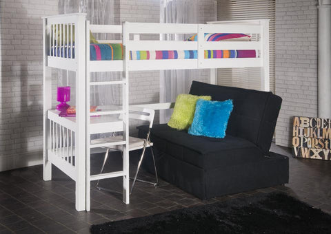 Pavo Solid Pine Study Bunk Bed In White