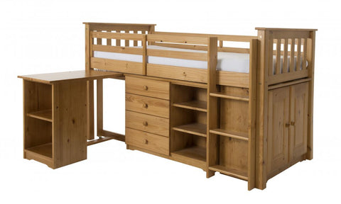Porto Pine Mid Sleeper Kids Bed with Desk, Chest, Bookcase & Cupboard