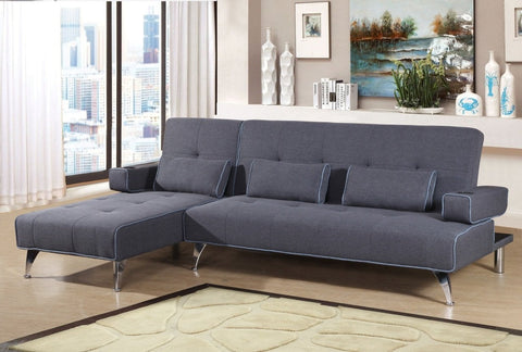 Mode Fabric Corner Sofa Bed With Lounger Chaise