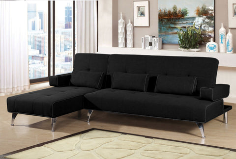 Mode Fabric Corner Sofa Bed With Lounger Chaise - Grey & Black