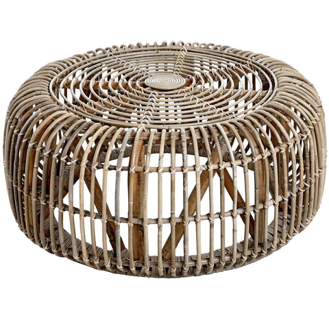 Rattan Round Coffee Table With Glass Top