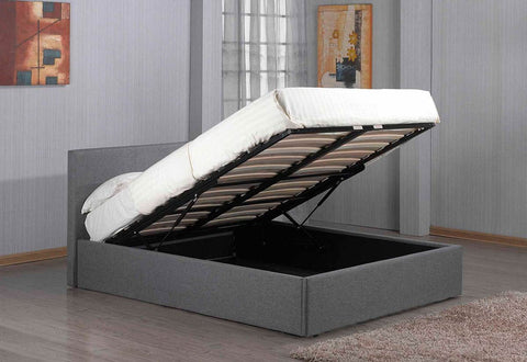 Richmond Grey Ottoman Storage Fabric Bed - Double or King Size