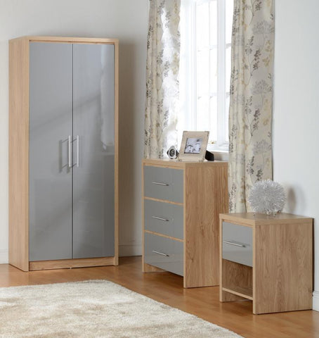 Seville 2 Door Wardrobe In Grey High Gloss