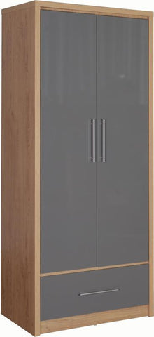 Seville 2 Door 1 Drawer Wardrobe Grey Gloss