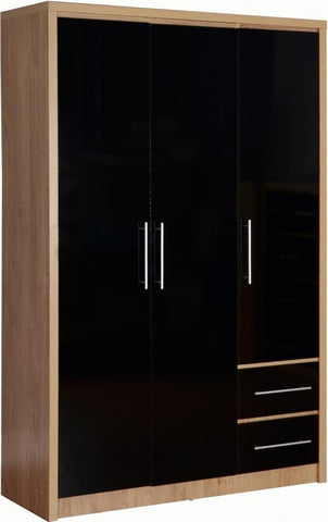 Seville 3 Door 2 Drawer Wardrobe In Black High Gloss