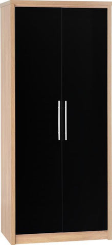 Seville 2 Door Wardrobe In Black High Gloss