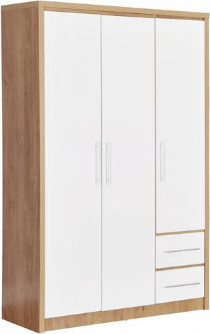 Seville 3 Door 2 Drawer Wardrobe In White High Gloss