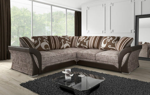 Clara Designer Fabric Symmetrical Corner Sofa Set - 2 Colours