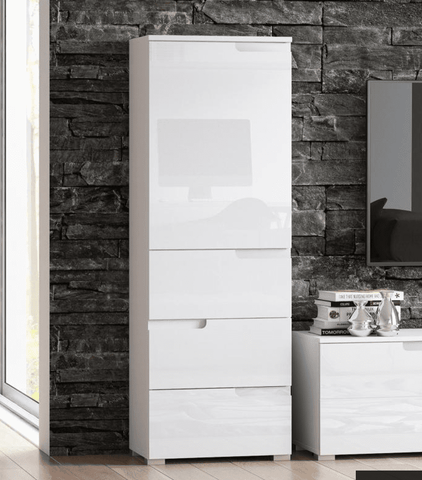 Santiago White Gloss Slim Storage Unit With Cupboard and Drawers