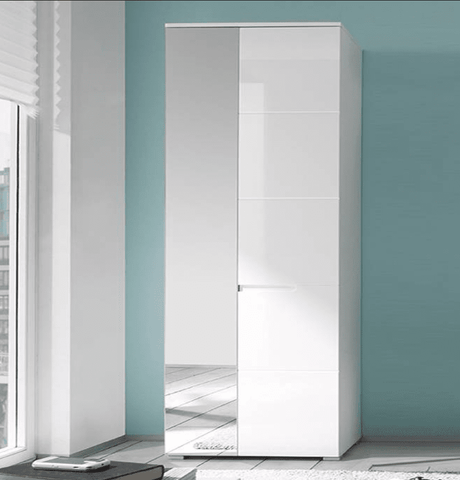 Santiago White Gloss Slim Wardrobe with Mirrored Door