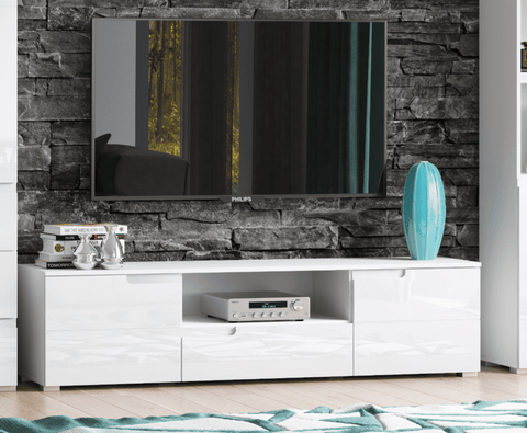 Santiago High Gloss White Wide TV Unit