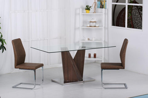 Contemporary Glass Top Dining Table With Walnut Base