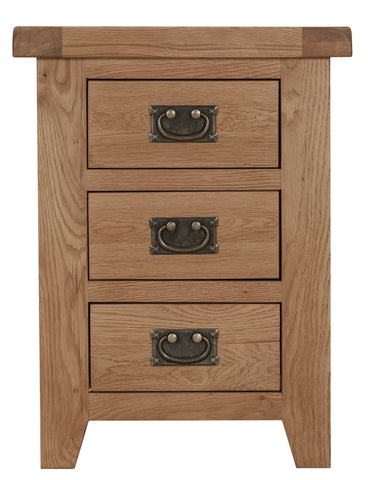 Oak Bedside Table with 3 Drawers