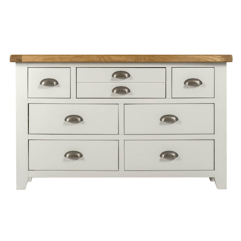 Solid Oak Top Chest of Drawers (3 drawers over 4) - Assembled
