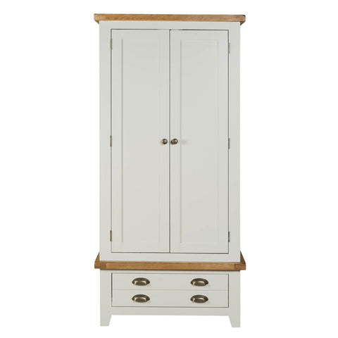 Painted Double Wardrobe with Oak Top