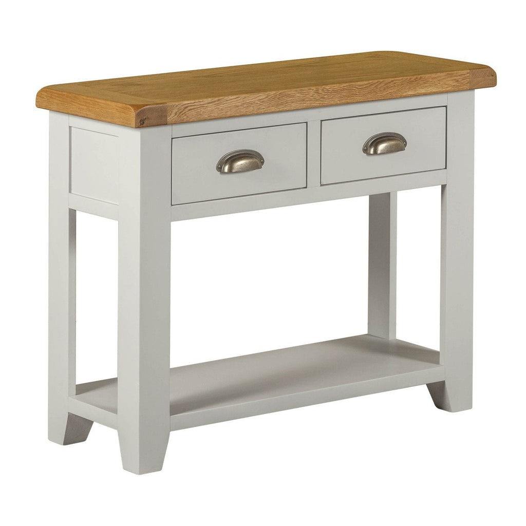 Oak Top Console Table With 2 Drawers Assembled