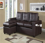 Modern Faux Leather Lounger Sofa - Black & Brown