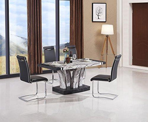 Aberdeen Marble Effect High Gloss Dining Table - Black & White