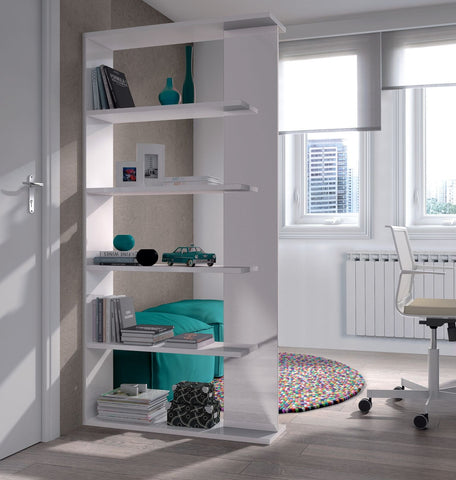 Adila Open Back Lounge Bookcase In White Gloss Or Black/White Gloss