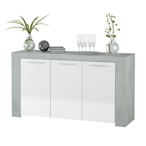 Alpine White Gloss and Grey 3 Door Sideboard