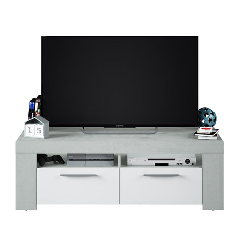 Alpine White Gloss & Grey 2 Drawer TV Cabinet Entertainment Unit