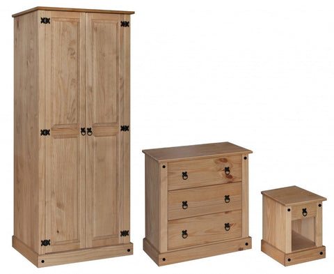 Distressed Pine Bedroom Furniture Set - Wardrobe, Chest & Bedside