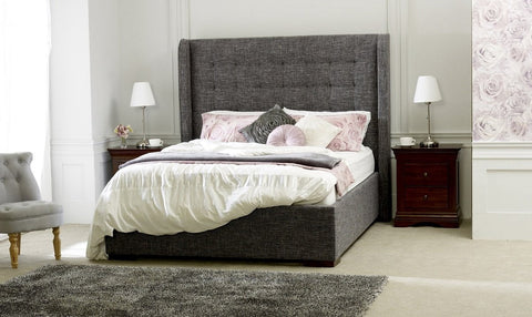 Aquila Slate Grey Fabric Bed