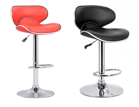 Bahama Swivel Bar Chair With Gas Lift In Faux Leather/Chrome - Set of 2 - Red & Black
