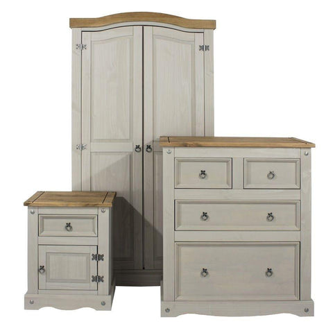 Corona Washed Grey Bedroom Set - Wardrobe, Bedside & Chest