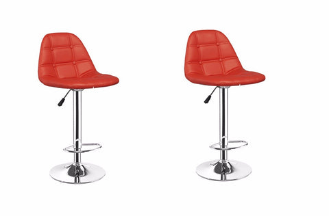 Classic Adjustable Swivel Bar Stool Pair - Red, White, Black