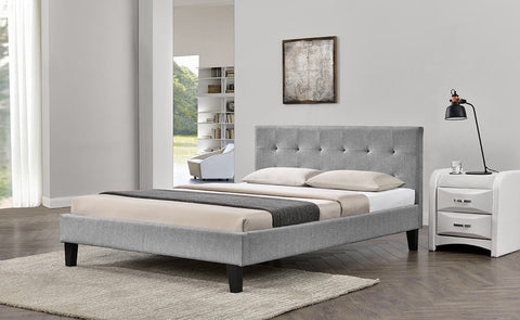 Grey Fabric Buttoned Headboard Bed - Single, Double & King Size