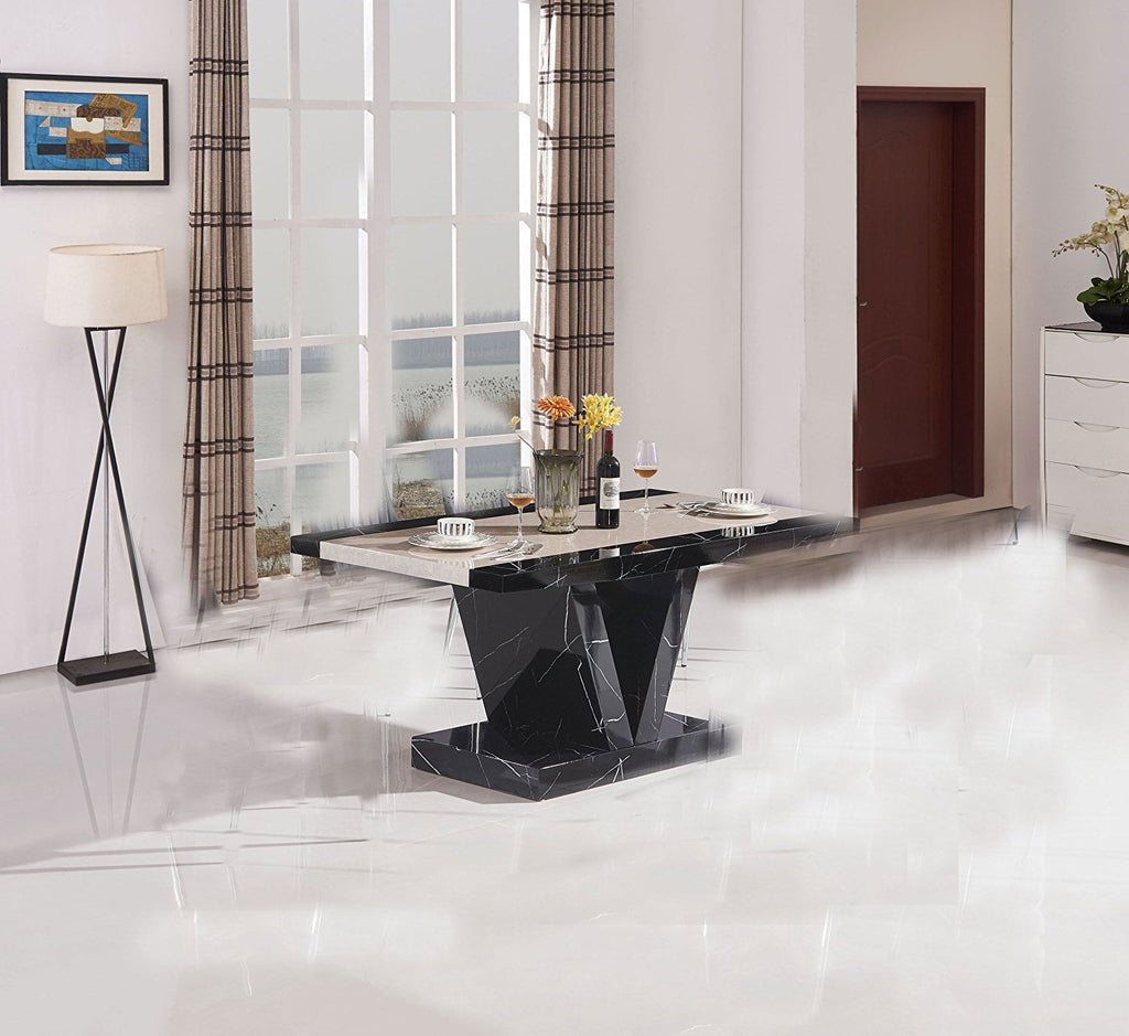 Marble Effect High Gloss Dining Table Black Discountslandcouk