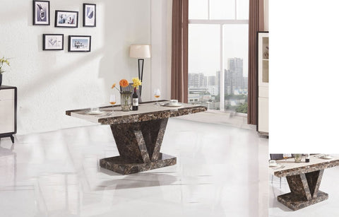 Marble Effect High Gloss Dining Table - Brown