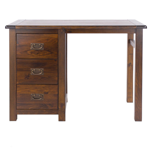 Boston Dark Pine Single Pedestal Dressing Table