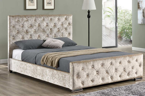 Luxury Crushed Velvet Bed In Gold - King & Double