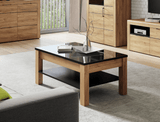 Croft Oak Effect Coffee table With Black Gloss Top