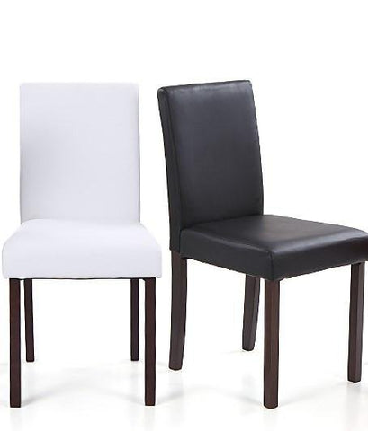 Faux Leather Wooden Dining Chair Pair