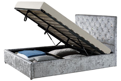 Crushed Silver Velvet Ottoman Storage Bed - Double & King Size Option