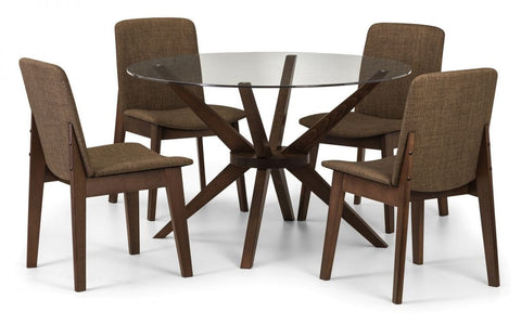 Chelsea Round Glass Top Dining Table (Solid Beech in Walnut Finish With Clear Glass)
