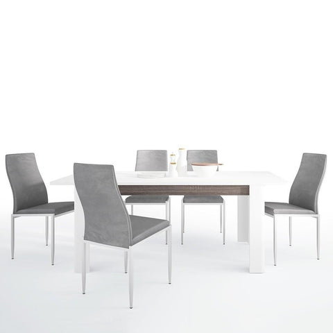 Chelsea Living Extending Dining Table with 6 Milan High Back Chair